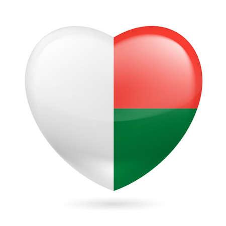 Heart with Malagasy flag colors. I love Madagascar  Иллюстрация