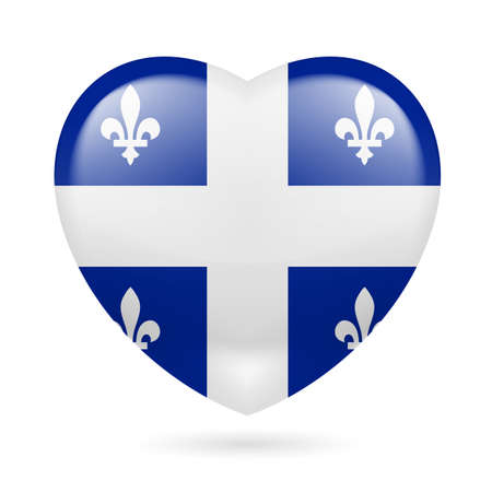 I love Quebec. Heart with flag design Çizim