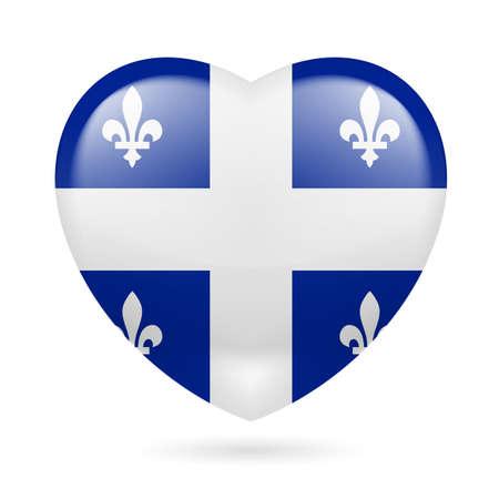 I love Quebec. Heart with flag design Illustration