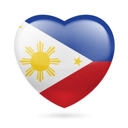 filipino: Heart with Filipino flag colors. I love Philippines  Illustration