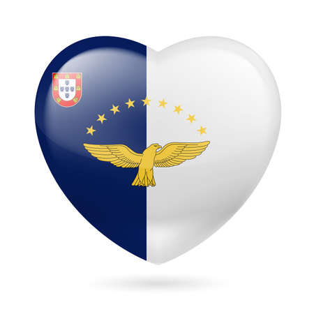 azores: I love Azores. Heart with flag design