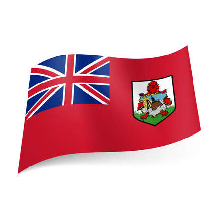 bermuda: Flag of Overseas British territory - Bermuda. National coat-of-arms and British flag on blue background
