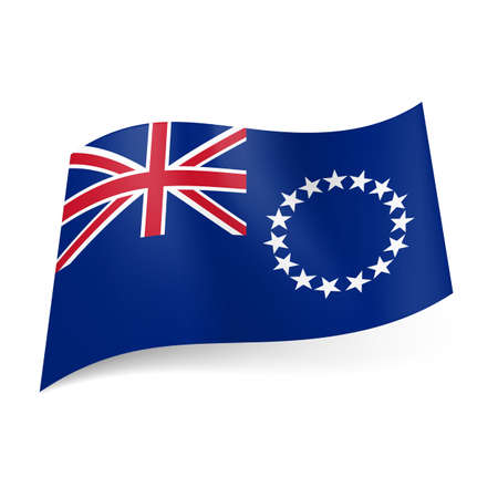 Flag of Cook Islands. National coat-of-arms and British flag on blue background