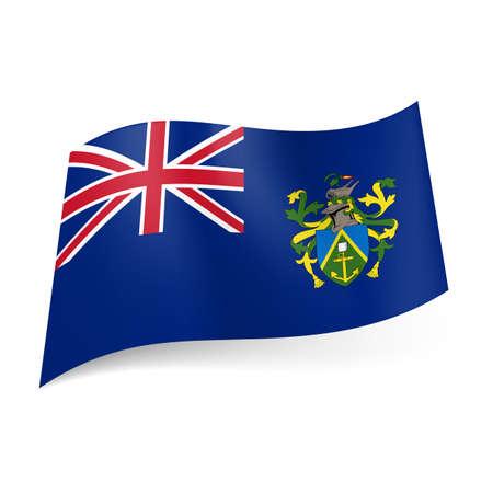 overseas: Bandera de territorio brit�nico de ultramar - Islas Pitcairn. Bandera nacional escudo de armas y el brit�nico en el fondo azul Vectores
