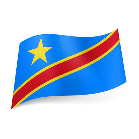 republic of the congo: National flag of Democratic Republic of the Congo. Yellow framed red diagonal srtipe with yellow star on blue background