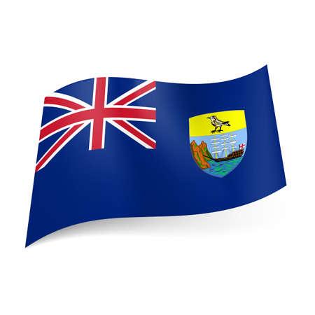 overseas: Bandera de territorio brit�nico de ultramar - Santa Elena, Ascensi�n y Trist�n da Cunha. Bandera nacional escudo de armas y el brit�nico en el fondo azul Vectores