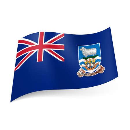 overseas: Bandera de territorio brit�nico de ultramar - Islas Malvinas. Bandera nacional escudo de armas y el brit�nico en el fondo azul Vectores