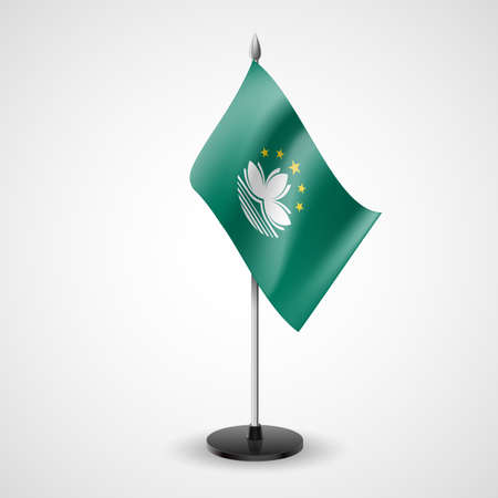 asian business meeting: State table flag of Macau. National symbol
