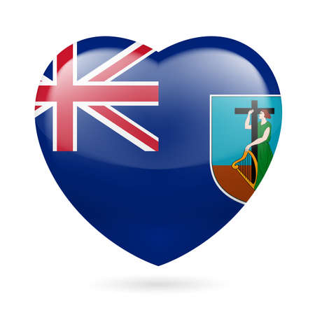 I love Montserrat. Heart with flag design Vector