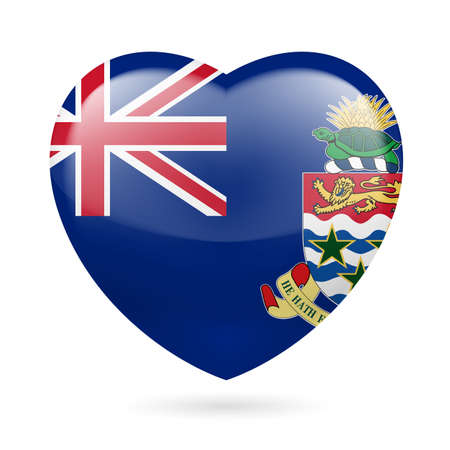 I love Cayman Islands. Heart with flag design Vector