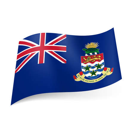 overseas: Bandera de territorio brit�nico de ultramar - Islas Caim�n. Bandera nacional escudo de armas y el brit�nico en el fondo azul