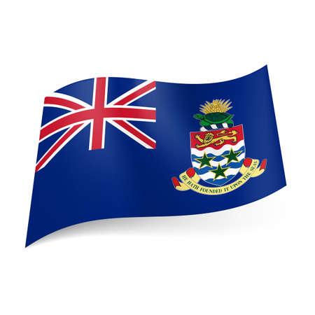 cayman: Drapeau du territoire britannique d'outre-mer - �les Ca�mans. Drapeau national sur fond bleu manteau-de-bras et de la Colombie