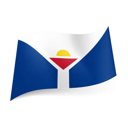 unofficial: Unofficial flag of Saint Martin. White Y-shape with triangle and sun deviding the field into two blue areas