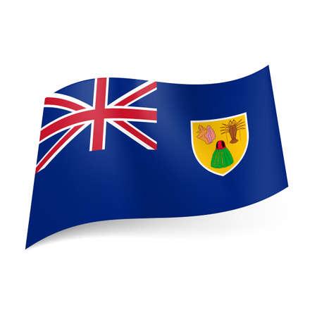 overseas: Bandera de territorio brit�nico de ultramar - Islas Turcas y Caicos. Bandera nacional escudo de armas y el brit�nico en el fondo azul Vectores