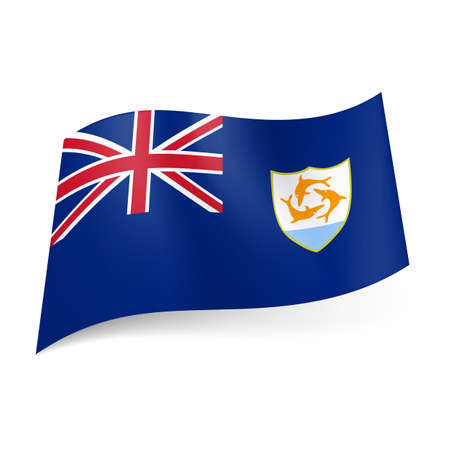 anguilla: Flag of Overseas British territory - Anguilla. National coat-of-arms and British flag on blue background