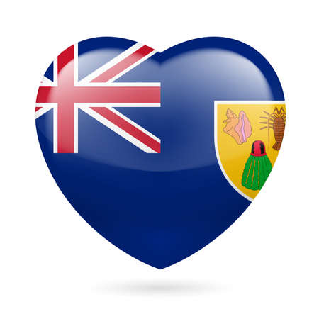 I love Turks and Caicos Islands. Heart with flag design  Vector
