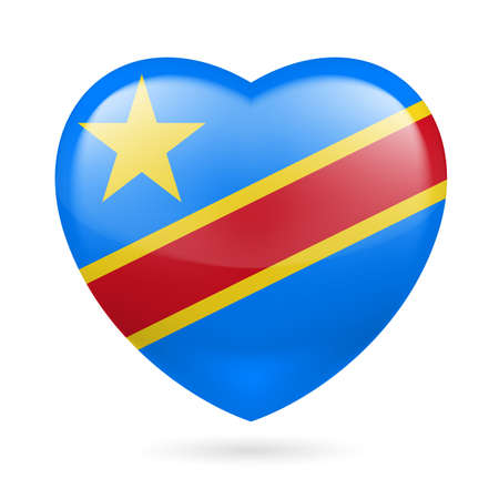 I love Democratic Republic of Congo. Heart with flag design  Vector
