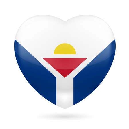 unofficial: I love Saint Martin. Heart with unofficial flag design