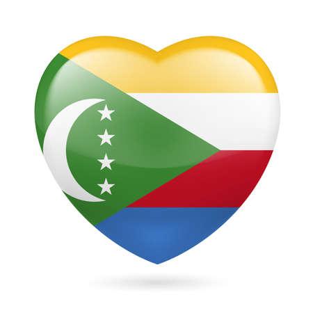 comoros: I love Comoros. Heart with flag design