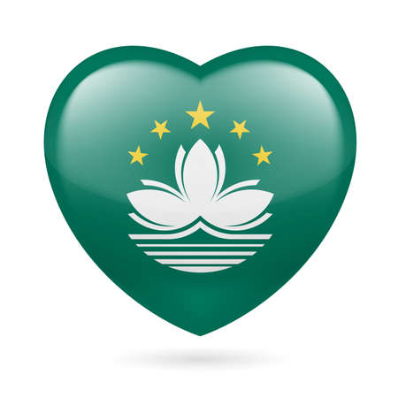 I love Macau. Heart with flag design  Vector