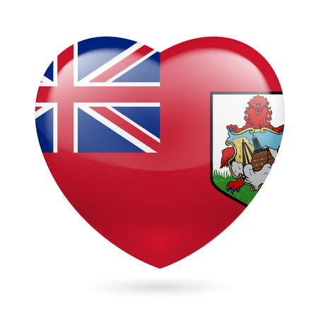 I love Bermuda. Heart with flag design  Vector