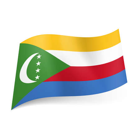 comoros: National flag of Comoros. Yellow, white, red and blue horizontal  stripes and green triangle with crescent and stars