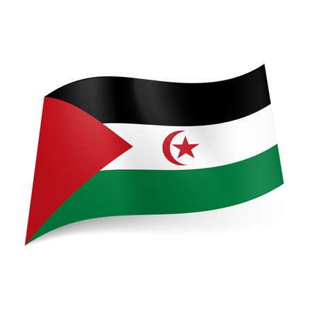 sahrawi arab democratic republic: National flag of Sahrawi Arab Democratic Republic. Black, white and green horizontal stripes with red triangle, crescent and star Illustration