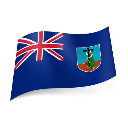 overseas: Bandera de territorio brit�nico de ultramar - Montserrat. Bandera nacional escudo de armas y el brit�nico en el fondo azul