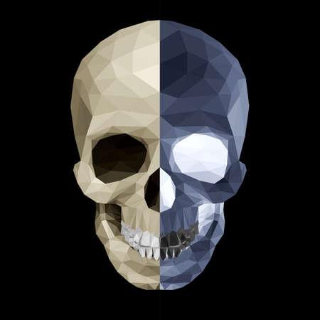 horrid: Crystal skull on black background in two color variations