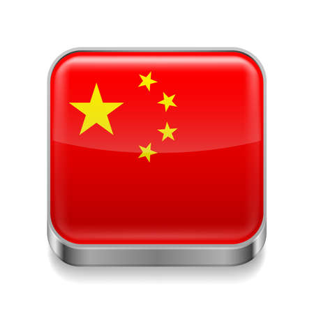 china flag: Metal square icon with Chinese flag colors