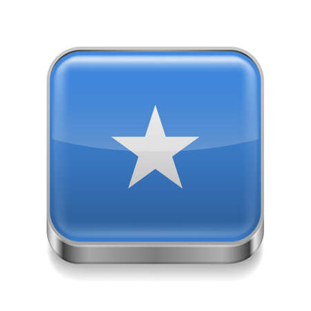 somalian: Metal square icon with Somalian flag colors  Illustration