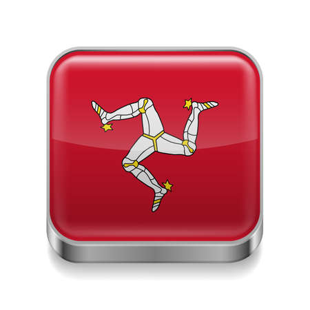isle: Metal square icon with flag colors of Isle of Man