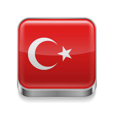 Metal square icon with Turkish flag colors  Vector