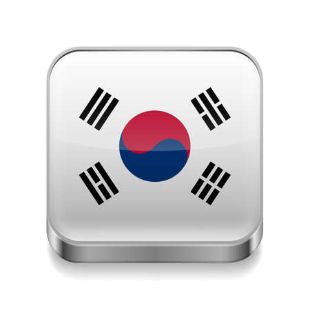 Metal square icon with South Korean flag colors  Vector