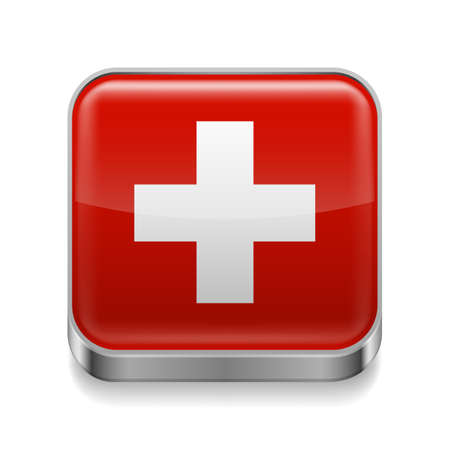 swiss culture: Metal square icon with Swiss flag colors