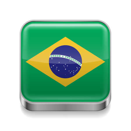 Metal square icon with Brazillian flag colors  Vector
