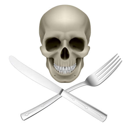 dieting: Skull with crossed fork and knife as symbol of unhealthy dieting