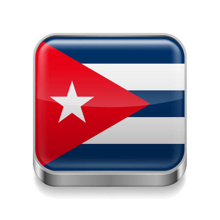 cuban flag: Metal square icon with Cuban flag colors