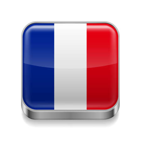 Metal square icon with French flag colors  Vector