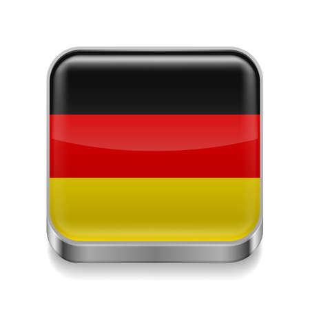 german tradition: Metal square icon with German flag colors