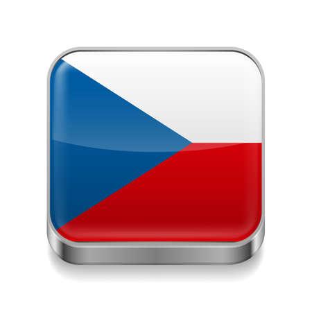 czech flag: Metallo icona quadrata con i colori della bandiera ceca