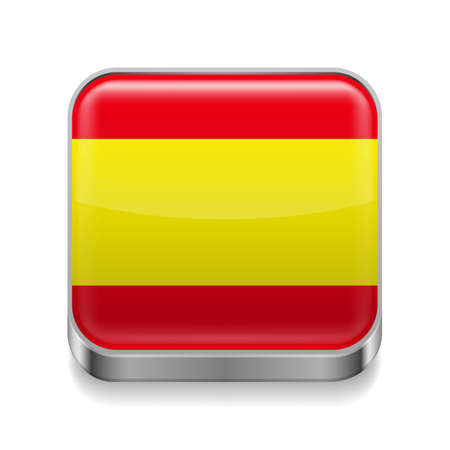 spain flag: Metal square icon with Spanish flag colors