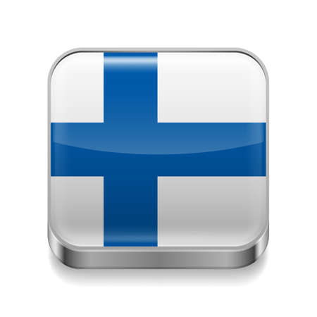 finnish: Metal square icon with Finnish flag colors