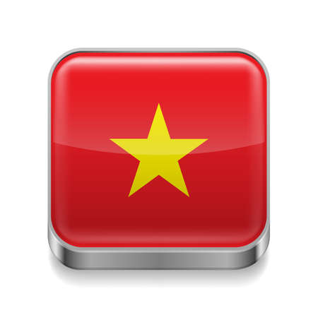 Metal square icon with Vietnamese flag colors  Vector