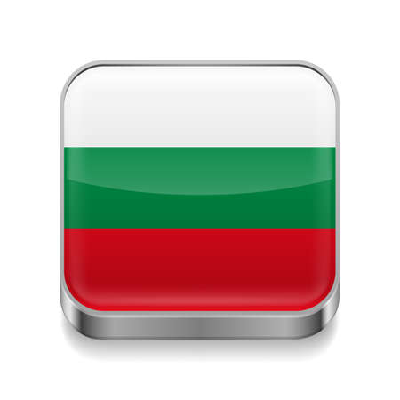 Metal square icon with Bulgarian flag colors  Vector
