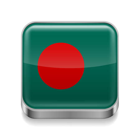 Metal square icon with Bangladeshi flag colors  Vector