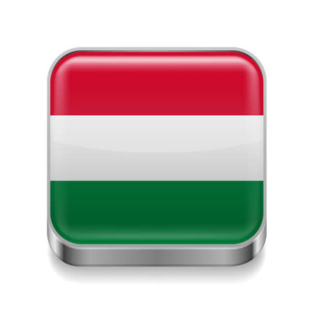 Metal square icon with Hungarian flag colors  Vector