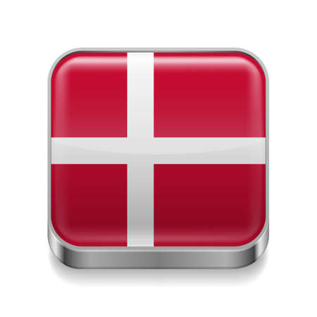 danish flag: Metal square icon with Danish flag colors