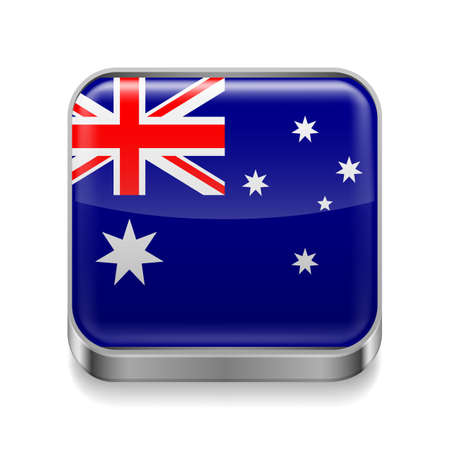 Metal square icon with Australian flag colors  Vector