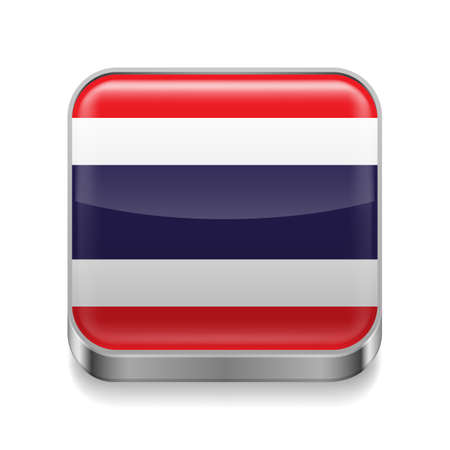 Metal square icon with Thai flag colors  Vector